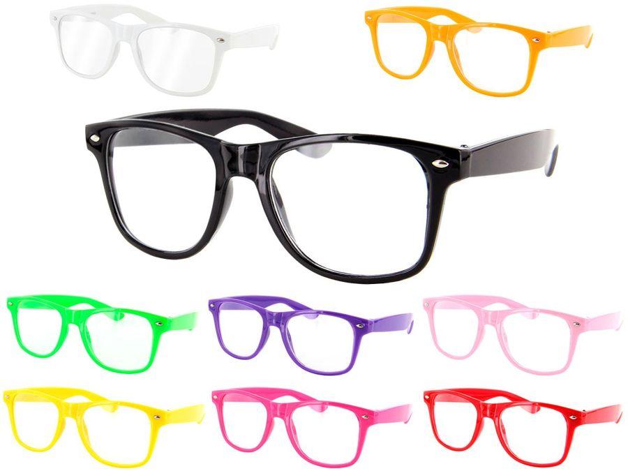Farbige Atzen Retro   Sonnenbrille Nerd klar V-816E