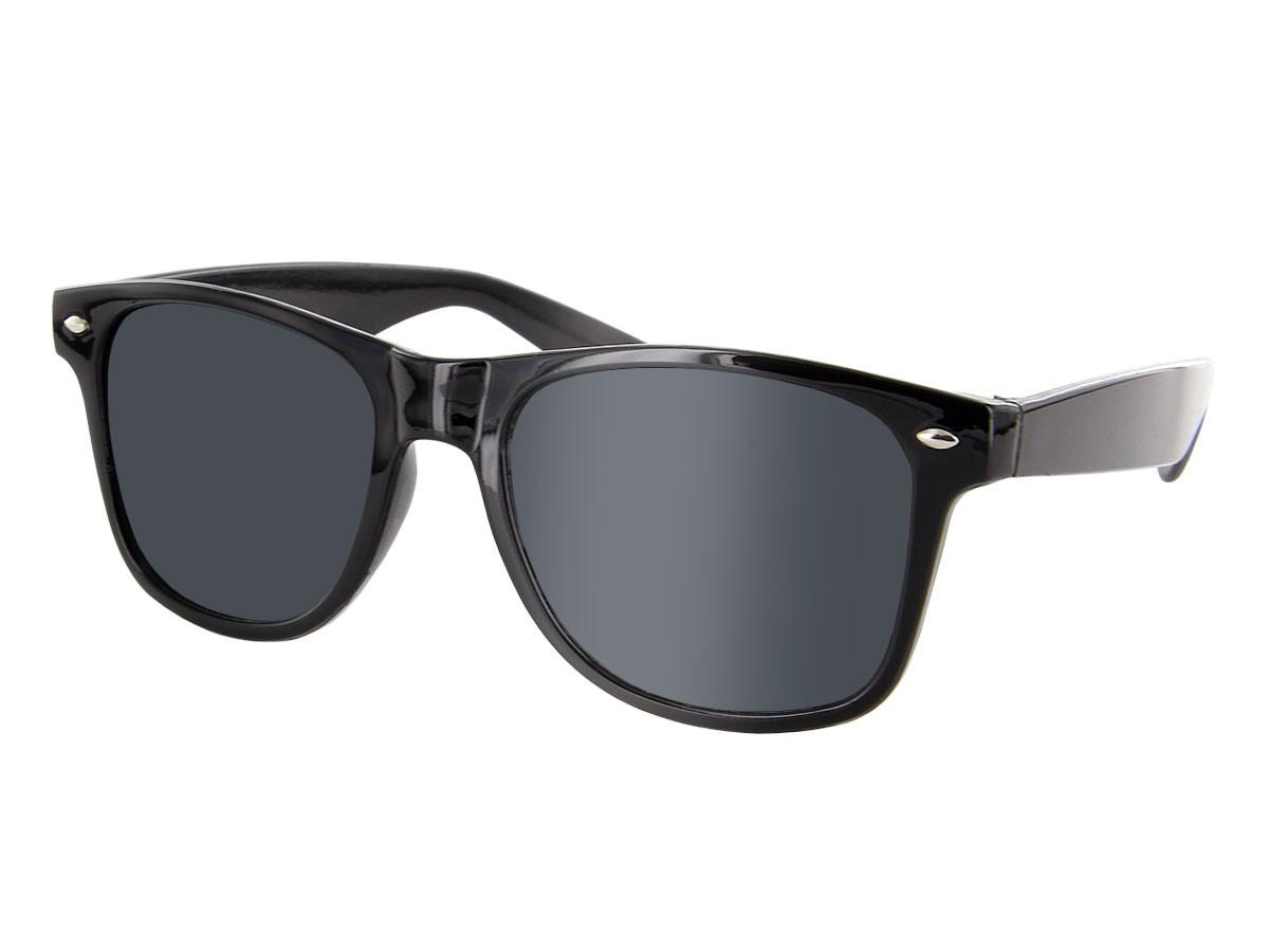 Schwarze Retro Sonnenbrille Nerd Brille klar & schwarz Glasfarbe:klar