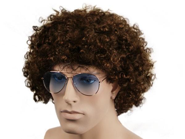 Atze Paket Lockige braune Afro Perücke + Pilotenbrille gold blau