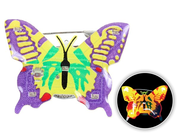 Blinki Anstecker Blinky Brosche Pin Button Schmetterling gelb lila 84