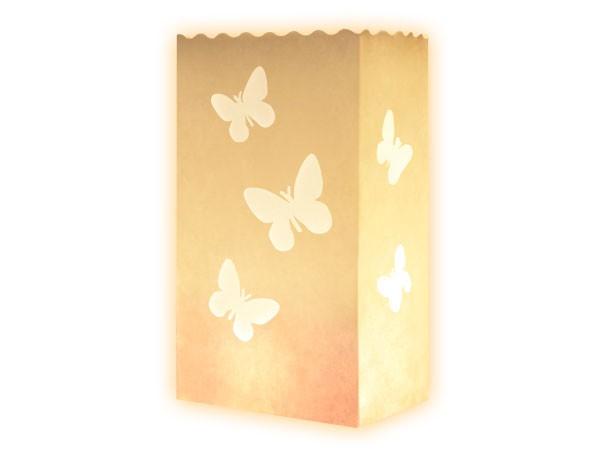 10er Set Lichttüten in weiß Schmetterling