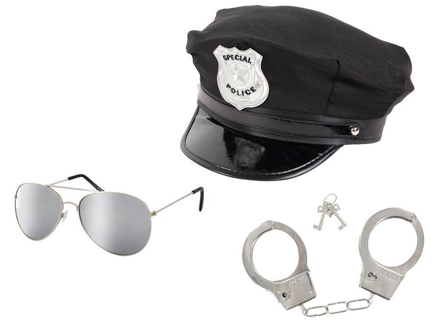 Polizei Cop Paket Polizeihut 174 + Pilotenbrille + Handschellen