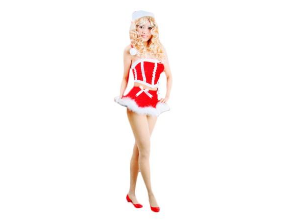 Weiches Nikki Santa Weihnachtskostüm für Frauen Weihnachtskleid wk-103