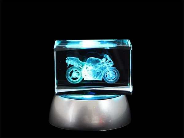 3D Laser Kristallquader Glasblock viele Motive