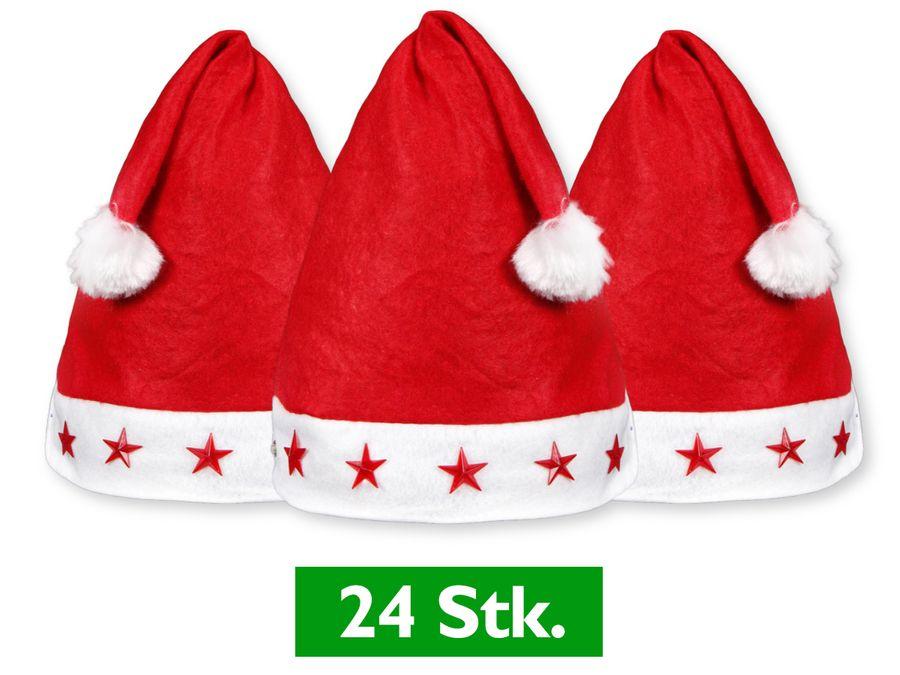 24 Stück Weihnachtsmützen Nikolausmützen Rot mit Leuchtsterne