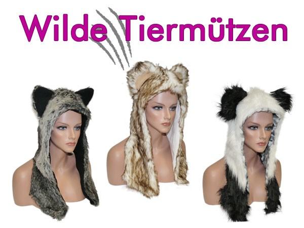 Fellmütze Tiermütze Mütze Pelzmütze Wintermütze mit Ohren und Schal-Funktion