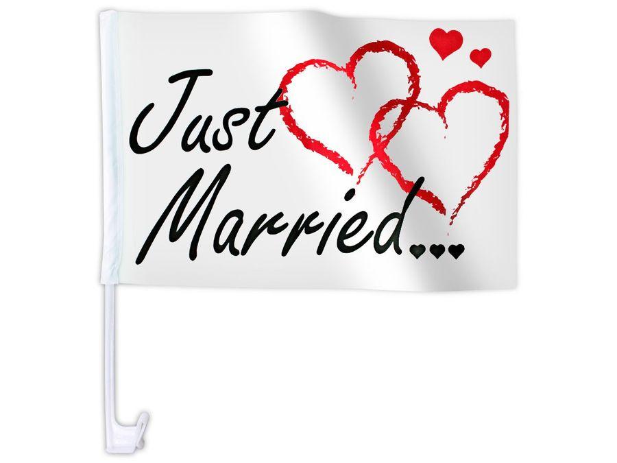 """10 Stk. Alsino Autoflagge AFL-10C Autofahne für die Hochzeit """"Just Married"""" Auto Flagge Fahne"""