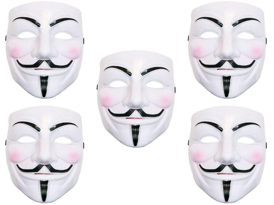 5 Stück V wie Vendetta Maske Anonymous Maske Fawkes Anonymous Occupy Karneval