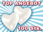 Lot de 100 ballon de baudruche en forme de coeur blanc blanche La décoration incontournable pour toute fête d'anniversaire de mariage ou soirée de Saint Valentin