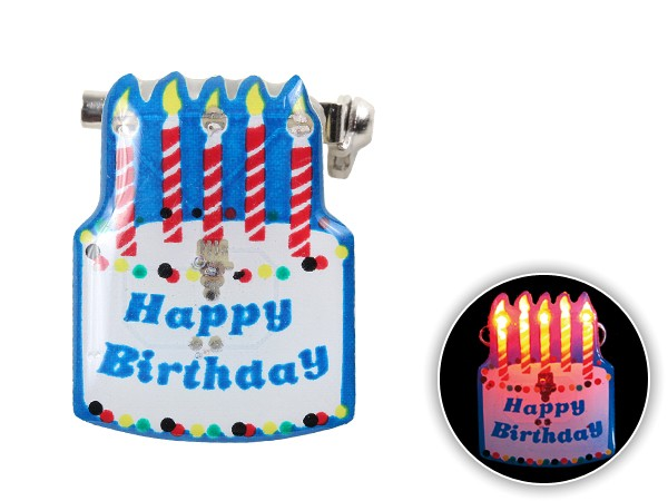 Blinki Anstecker Blinky Brosche Pin Button Torte Happy Birthday 123