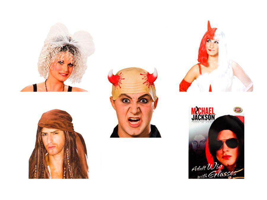 Karnevalsperücken für Piraten und Teufel