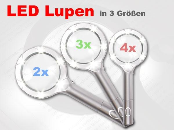 LED Lupe Handlupe Leuchtlupe Lupenleuchte Leselupe mit 6 LED 2-4-fache Vergrößerung