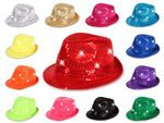 LED club style party hat Trilby hat Bogart Fedora Blink Glitzerhut Glitter