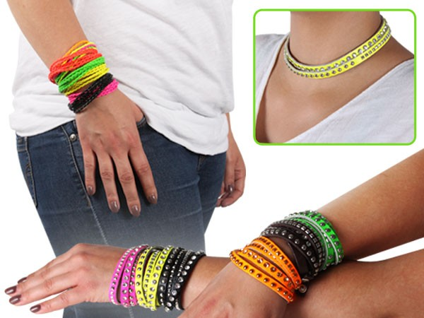 Lederarmband Neon String Wickelarmband Bracelet Surfer Armband Geflochten Nietenarmband – Bild 1