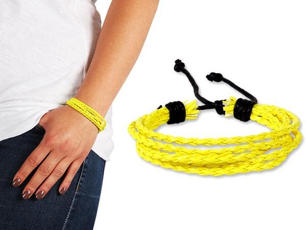 Lederarmband Neon String Wickelarmband Bracelet Surfer Armband Geflochten Nietenarmband – Bild 2