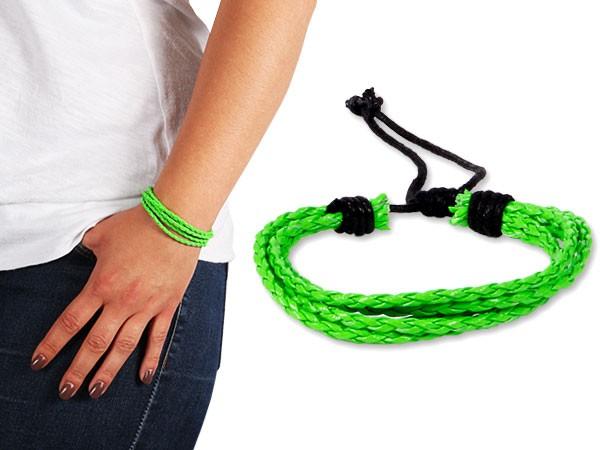 Lederarmband Neon String Wickelarmband Bracelet Surfer Armband Geflochten Nietenarmband – Bild 3