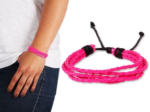 Lederarmband Neon String Wickelarmband Bracelet Surfer Armband Geflochten Nietenarmband – Bild 5