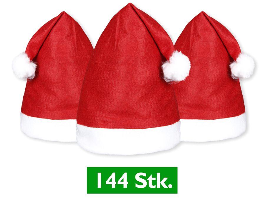 144 Stück Weihnachtsmützen Nikolausmütze rot Bommel 32