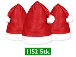 1152 Stück Weihnachtsmütze Nikolausmütze rot Bommel 32