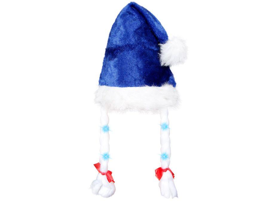 Weihnachtsmütze blaues Plüsch mit Zöpfen blinkend 09a