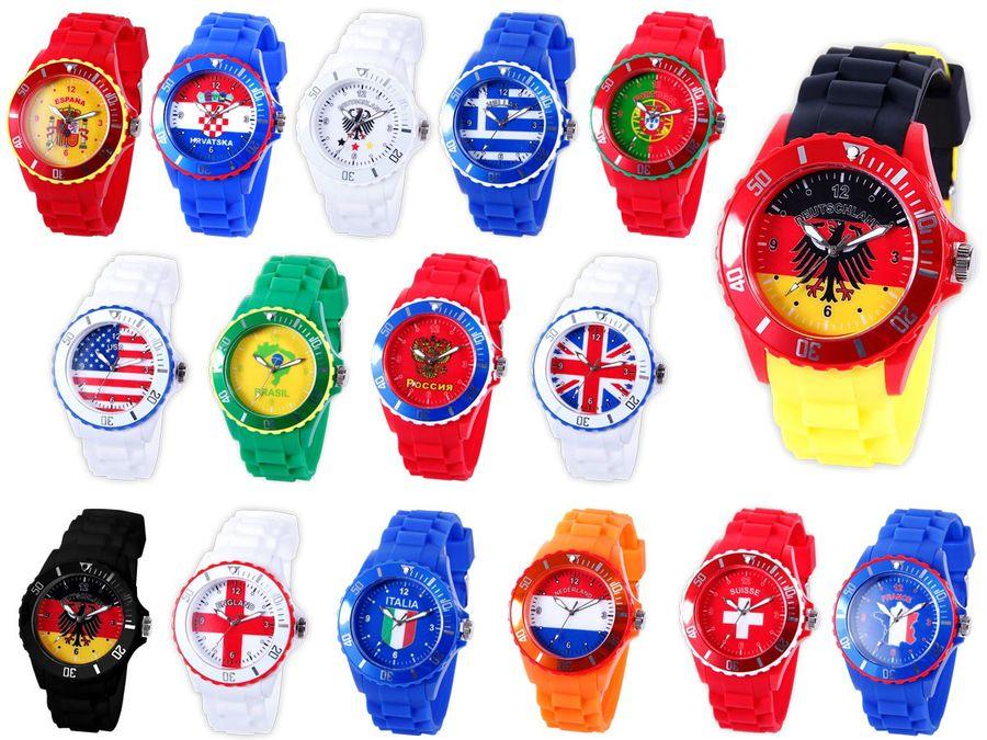 Armbanduhr WM EM Länder Silikon Uhren für Damen und Herren Silikonuhr von Alsino