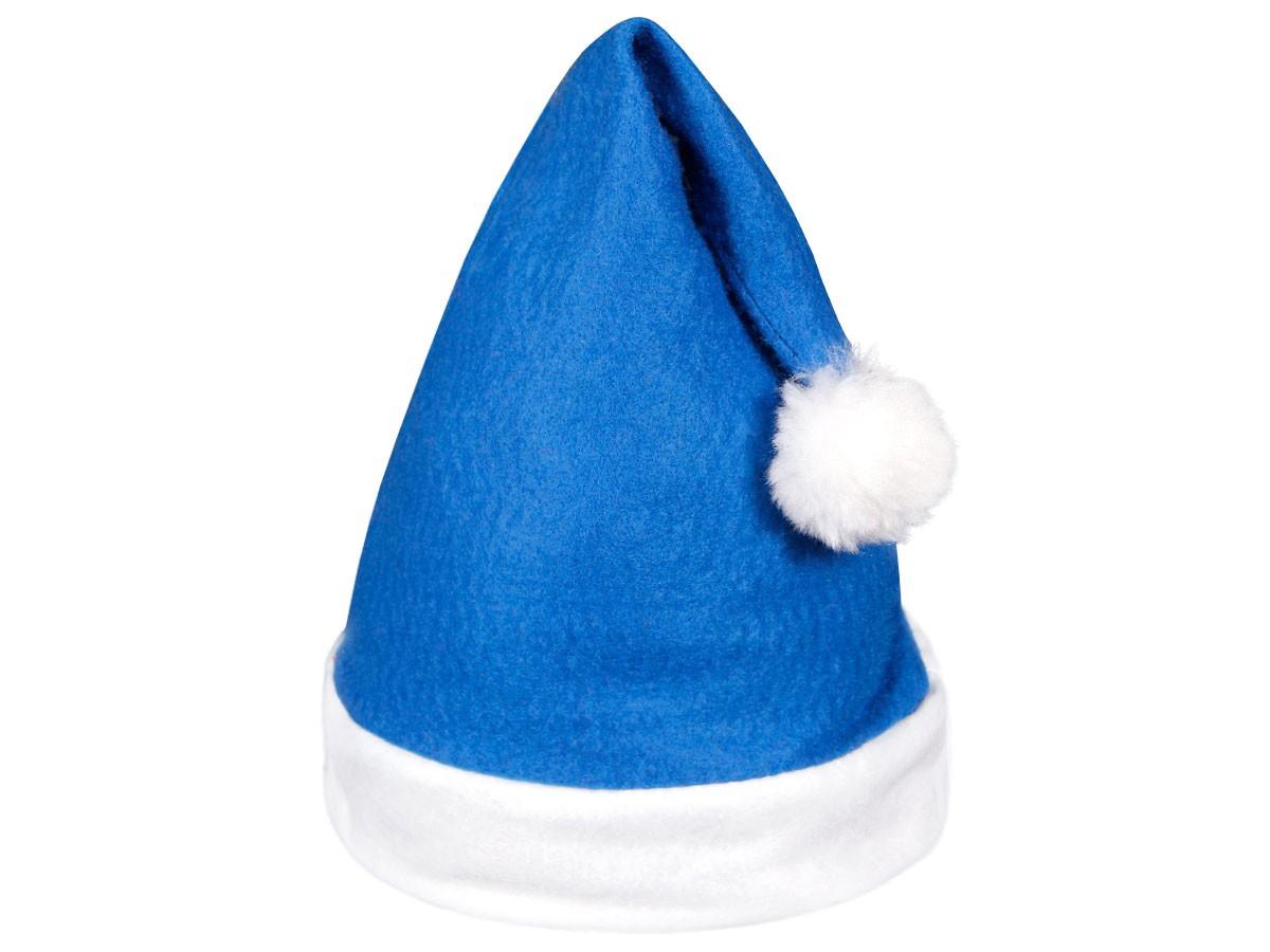 6 Stk. Weihnachtsmütze Nikolausmütze blau weiß mit Bommel 31