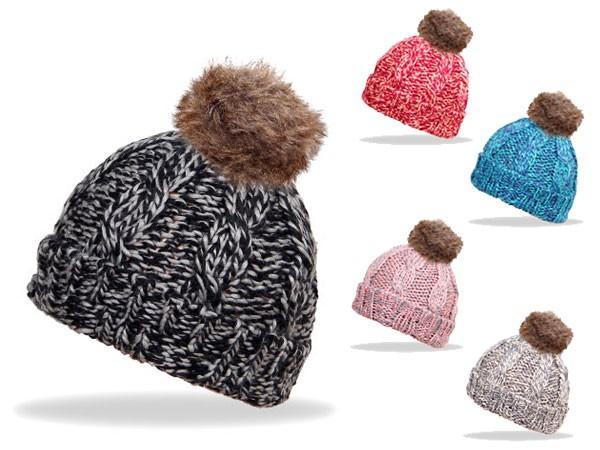 Wollmütze mit Fell Bommel in verschiedenen Farben