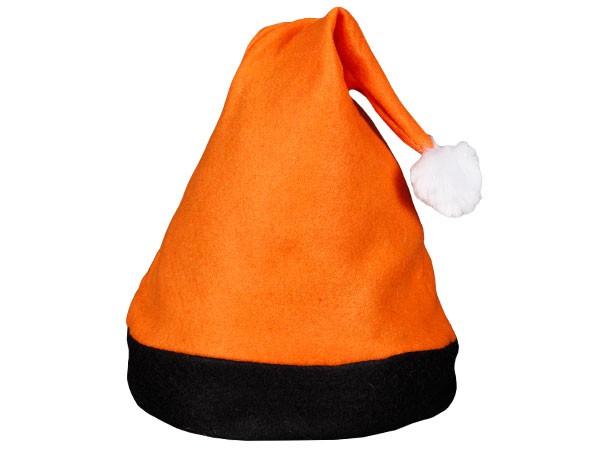 Weihnachtsmütze Nikolausmütze orange mit schwarzem Rand 42b