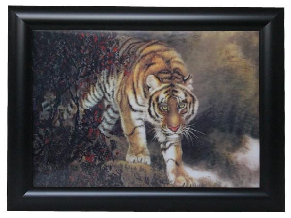 3D Effekt Bilder Wandbild Effektbild Bild Wandbilder mit Rahmen Tiger 101