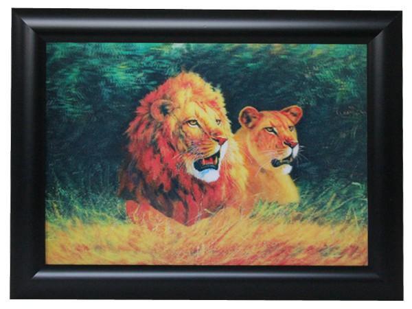 3D Effekt Bilder Wandbild Effektbild Bild Wandbilder mit Rahmen Löwen 106