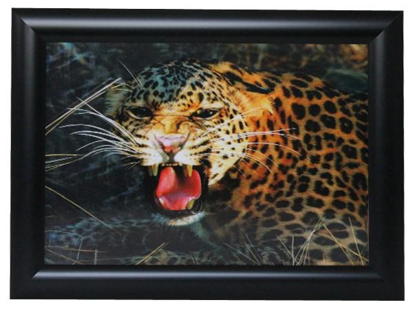 3D Effekt Bilder Wandbild Effektbild Bild Wandbilder mit Rahmen Leopard 111
