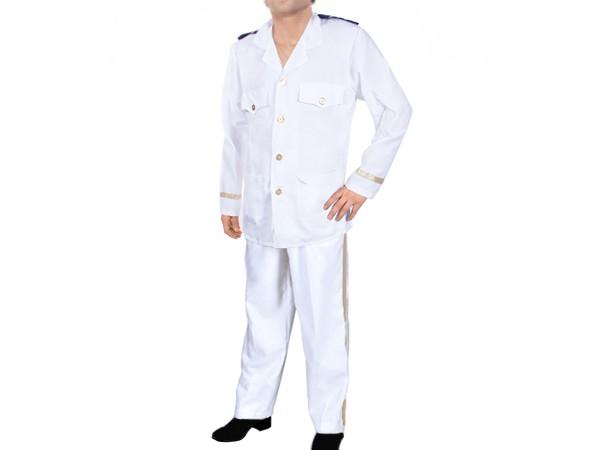 Herren Karnevalskostüm Kapitän (Captain) Marine Offizier Fasching Kostüm Uniform weiß