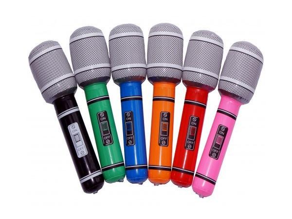 12x Aufblasbares Mic Mikrofon Mikrofone Mikro Aufblasbare Luftgitarren bunt