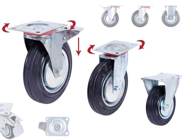 Transportrollen Lenkrollen mit Bremse schwarz 75-100-125-160-200
