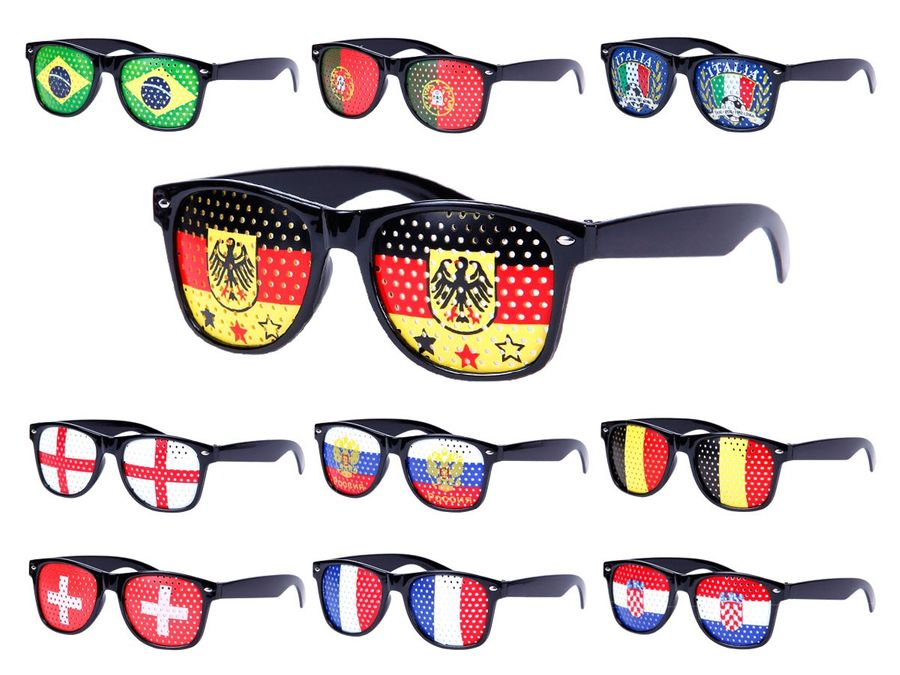 Alsino WM Lochbrille Pinehole Fanbrille Fussball Brille Länderbrille Gitterbrille Rasterbrille