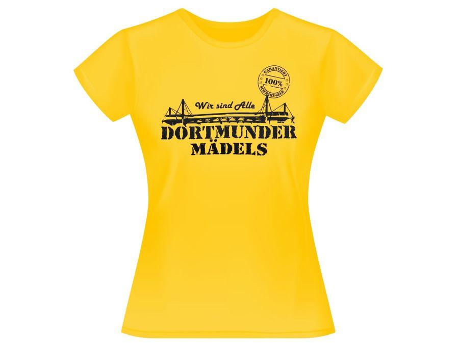 Dortmunder Mädels T-Shirt Dortmund Fanartikel Fanshirt Shirt 100% gelb