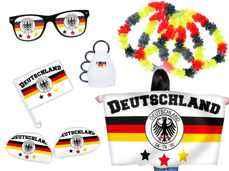 9 tlg. Alsino WM Fanpaket Deutschland FP-03 Fanartikel Fussball Fanset Flaggenumhang Caxirola Brille
