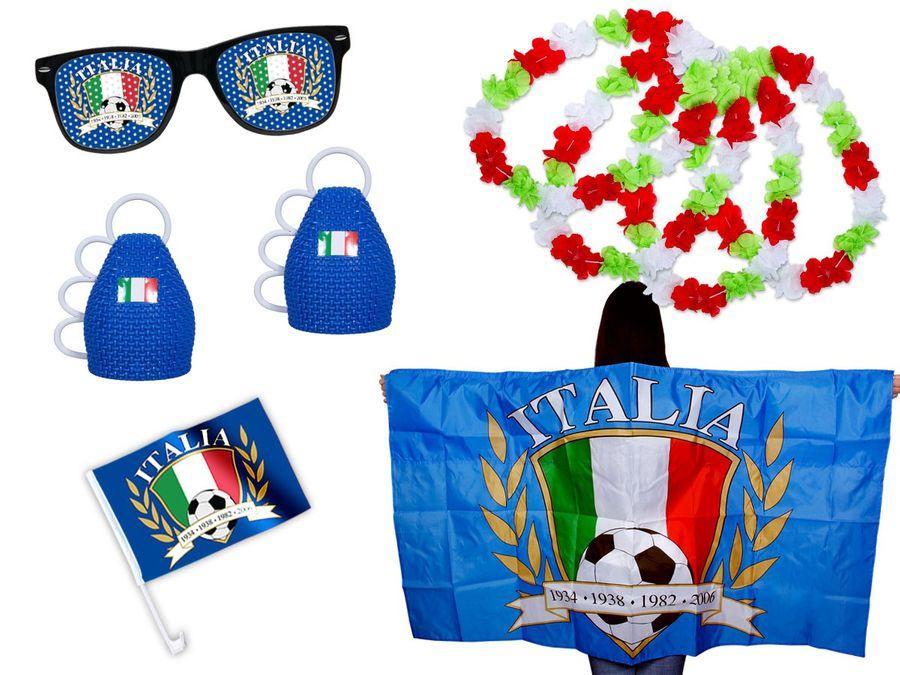 9 tlg. Alsino Fanpaket Italien FP-04 Fanartikel Fussball Fanset Flaggenumhang Caxirola Brille