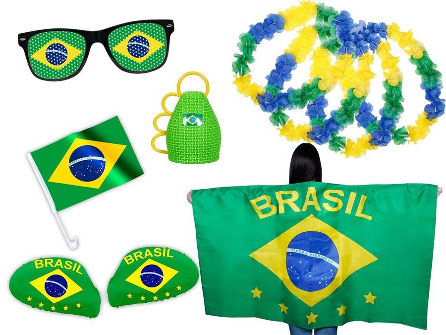 9 tlg. Alsino WM Fanpaket Brasilien FP-06 Fanartikel Fussball Fanset Flaggenumhang Caxirola Brille