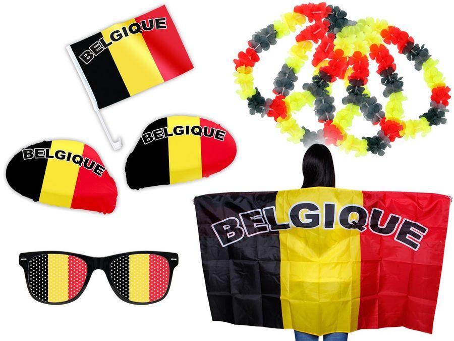 8 tlg. Alsino WM Fanpaket Belgien FP-14 Fanartikel Fussball Fanset Flaggenumhang Brille