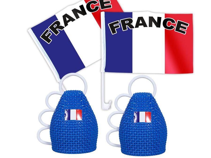 4 tlg. Frankreich WM Fanset 2x Caxirola 2x Autofahne Autoflagge Caxixi Fanartikel Fußball Set