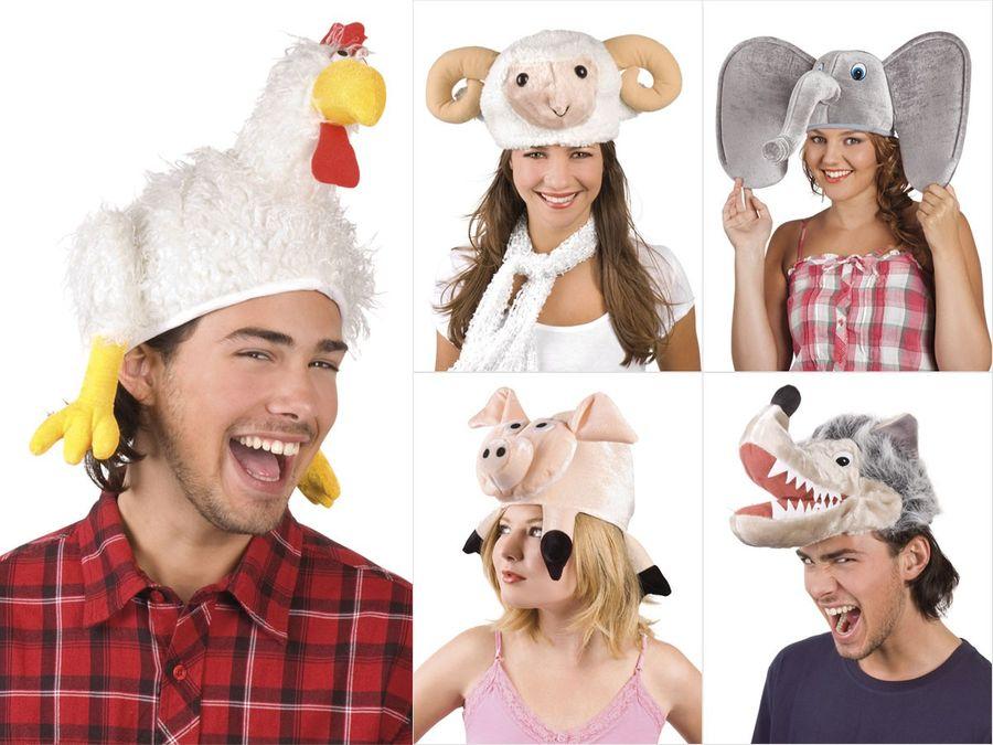 Tierhut Karneval Chicken Schaf Mütze Schweinemütze Wolfhut Fasching Kopfbedeckung