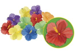 Alsino Hibiskus 52513 Hawaii Blüten Karneval Deko Karibik Beach Party Set 24 Stück