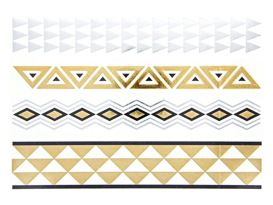Alsino Einmal Tattoo Metallic Modeschmuck selbstklebend Einmaltattoos schwarz silber gold