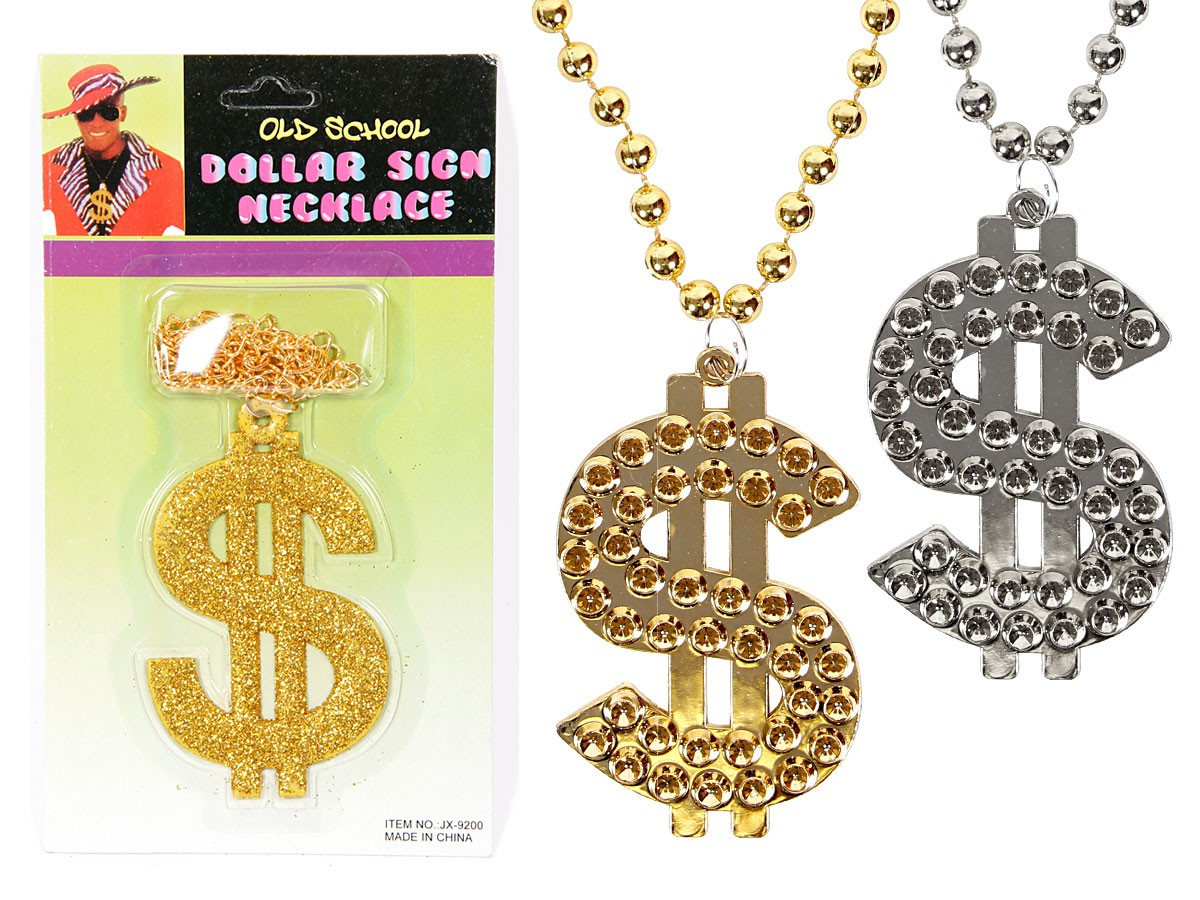 Dollar-Kette Dollar-Zeichen Pimp Halskette Plastik Gold-Kette Silber-Kette Bling