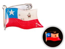 Blinki Anstecker Blinky Brosche Pin Button Chile Flagge 113a