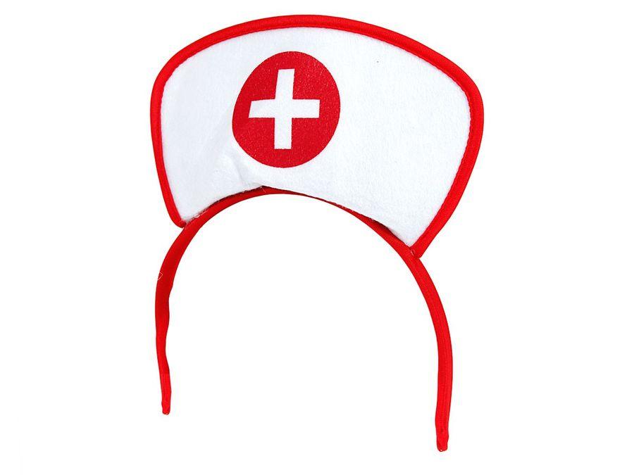 Alsino Krankenschwester Damen Haarreif weiß rot Arzt Haube mit Kreuz Nurse