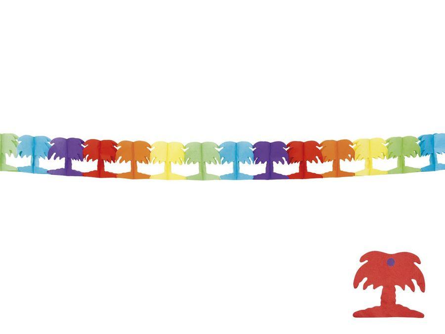 Alsino Partygirlande Palmen 30618 Deko Wimpelgirlande Party Blumen Dekoration bunt 4 Meter