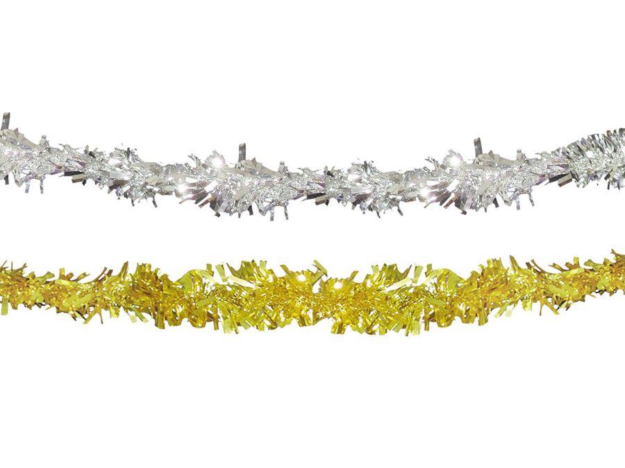 Partygirlande PVC Glitter Gold Silber 4 Meter
