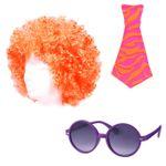 Alsino 3 tlg.Clown Party Set Kostüm Karneval Afro-Perücke Sonnenbrille Krawatte KV-41